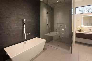 ultra-modern bathroom in tanglewood home
