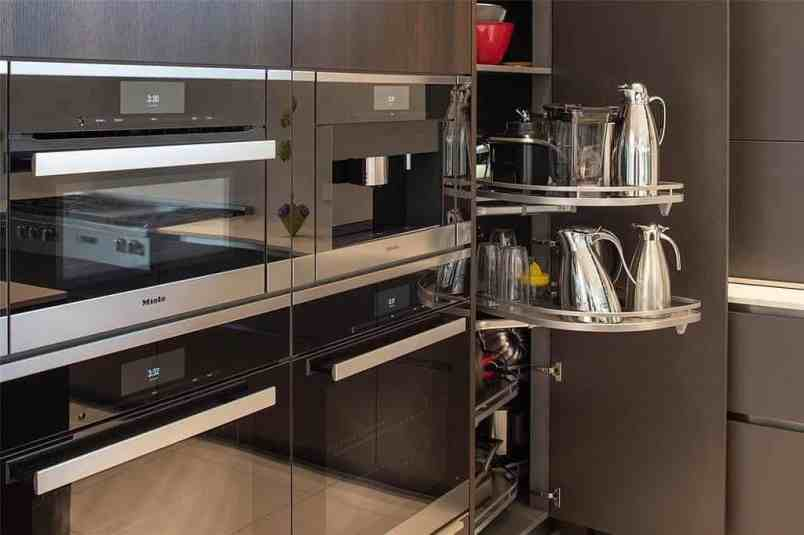 miele appliance set with small appliance pantry installed in eggersmann cabinetry