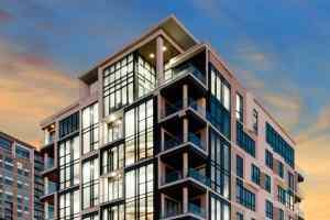 exterior of mondrian luxury apartments in houston texas that feature high end eggersmann kitchens