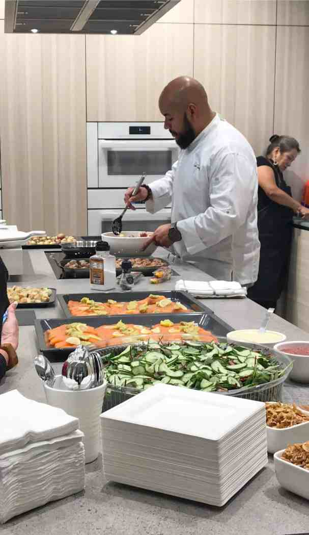 chef saul prepares to serve a gourmet meal cooked on miele appliances to attendees of a january 2020 estate master class held at eggersmann la showrom