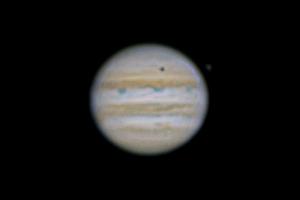 Jupiter & Europa Shadow. 5th May 2017. 8-inch Schmidt-Cassegrain Telescope. Panasonic Lumix G6, 5 mins HD Video 50fps x4 Ex Tele Mode. 16,000 frames stacked & processed using PIPP, Autostakkert, Registax & Photoshop.