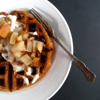 Honey-Amaranth Waffles with Spiced Pears