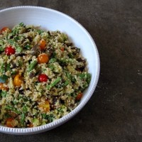 summer quinoa salad with zucchini, eggplant, green beans + tomatoes
