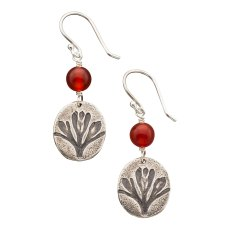 "CP-E-02, California Poppy Earring, Medium. SS, Carnelian. 1"" L. Wholesale: $22. $300 total minimum on first wholesale order."
