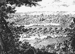 Le village de Chaillot vu du Cours-la-Reine(gravure du XVIIe siècle - vers 1630 )