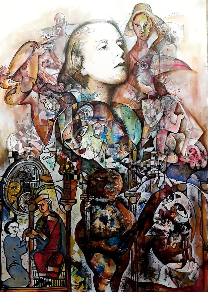 Renacimiento de la Utopia, Tamara de Lempicka. 70x 50cm. Mixta/cartulina. 2019