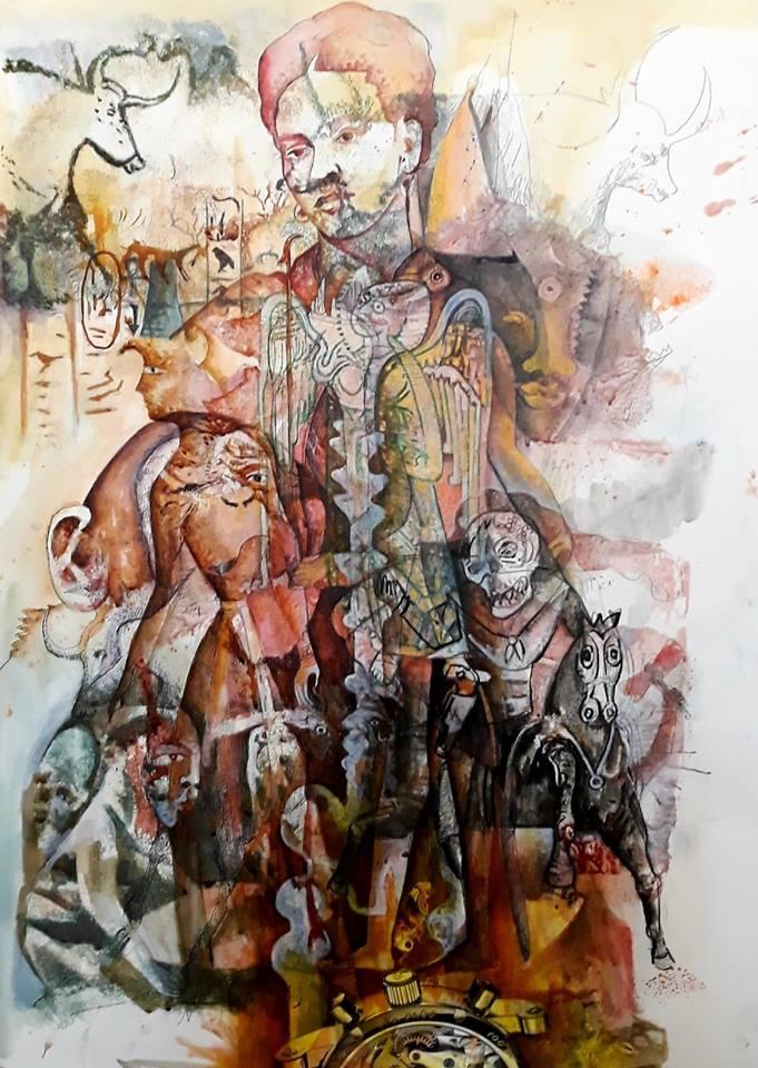 Serie Renacimiento de la Utopia, Estructura Kahlo. 70x50cm. Mixta/cartulina. 2019