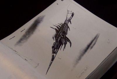 Un vaisseau spatial dessiné par Chris Foss