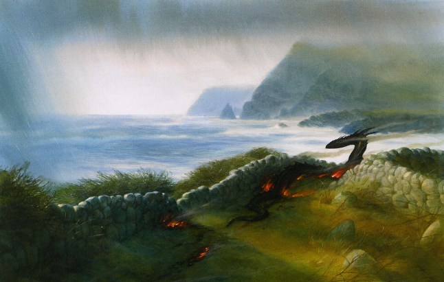 john_howe_beowulf_the dragons rampage