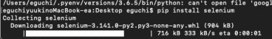 【python(パイソン)】mac selenium インストール方法|pip install selenium