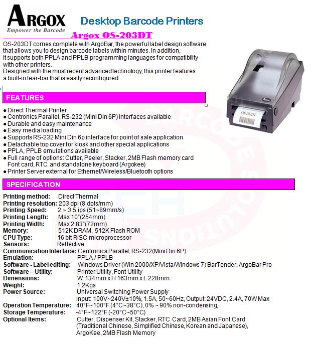 ARGOX OS-203DT PPLA WINDOWS 7 X64 DRIVER