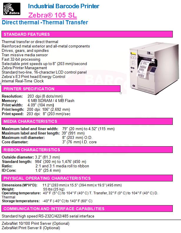 Zebra® 105 SL