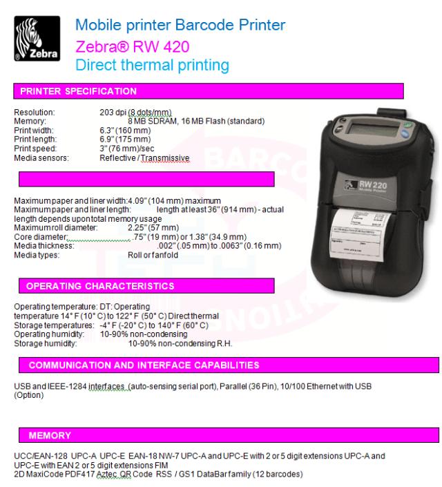 Zebra® RW 420