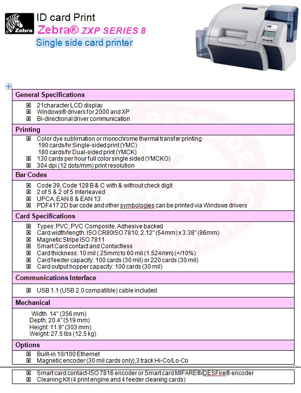 Zebra® ZXP SERIES 8