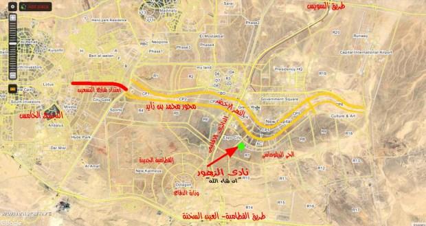 خريطة العاصمة الاداريه وموقع نادى الزهور