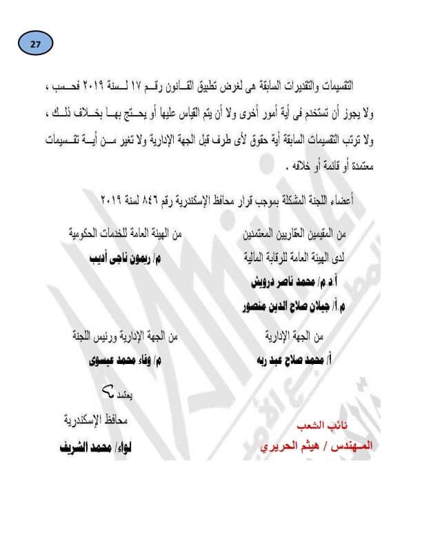 قرار تحديد قيمة المتر المسطح للوحدة مقابل التصالح في جميع مناطق الإسكندرية