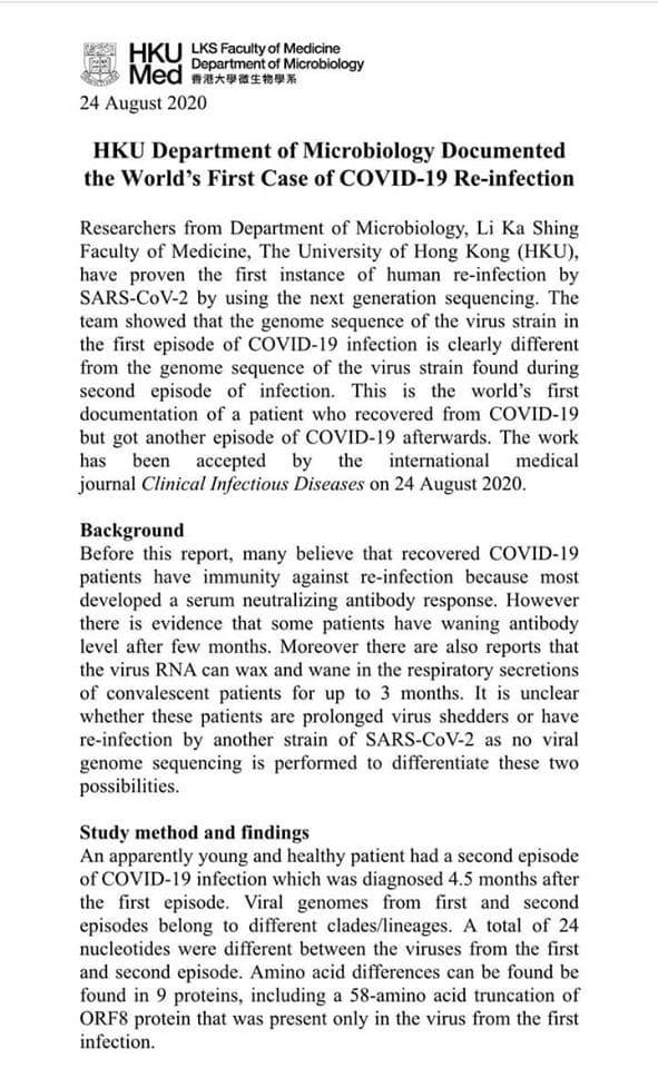 هونج كونج تسجل أول حالة إصابة بفيروس كورونا للمرة الثانية