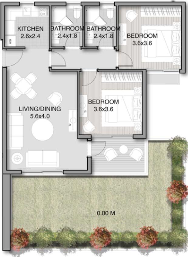 نموذج شقة 84 متر ارضي