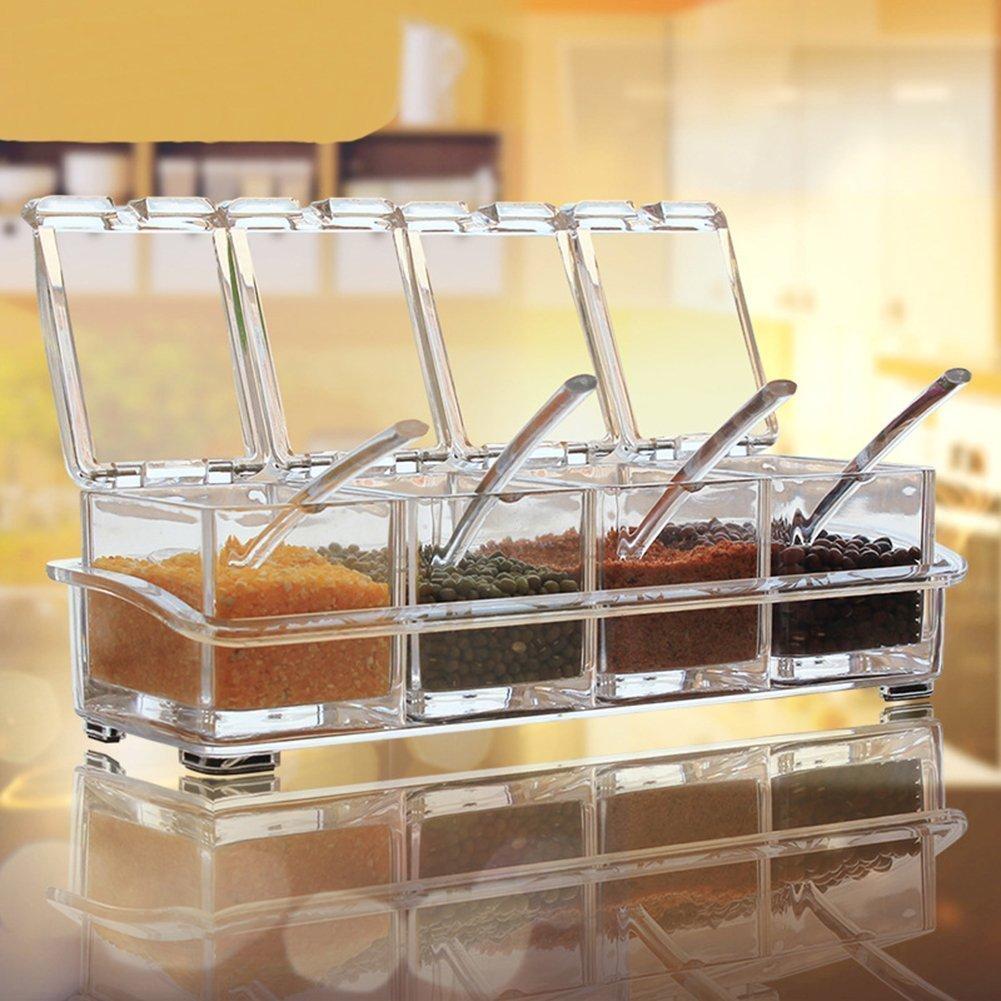 طقم توابل أكريليك شفاف به 4 أماكن لحفظ التوابل مع ملعقة