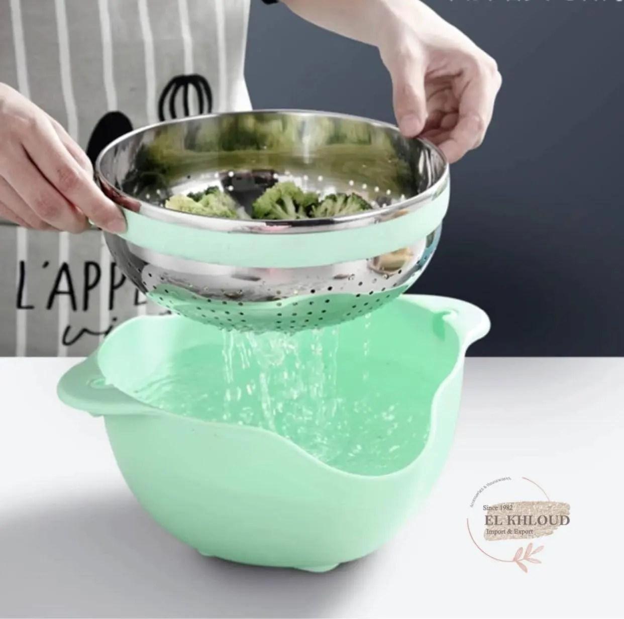 طبق الخضروات مع صفاية ستانليس متحركة