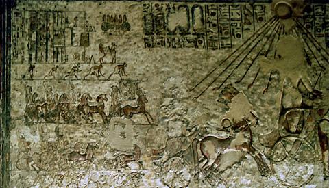Akenaten drives his chariot on the Royal Road
