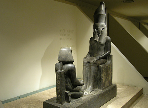 Statue of Horemheb before Atum from the Luxor Cachette