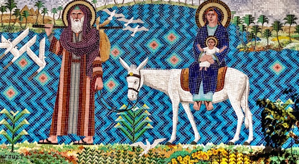 A detail of the Flight Into Egypt mosaic at the Hanging Church, Old Cairo.