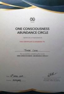 Certificate One Consciousness Abundance Circle 4