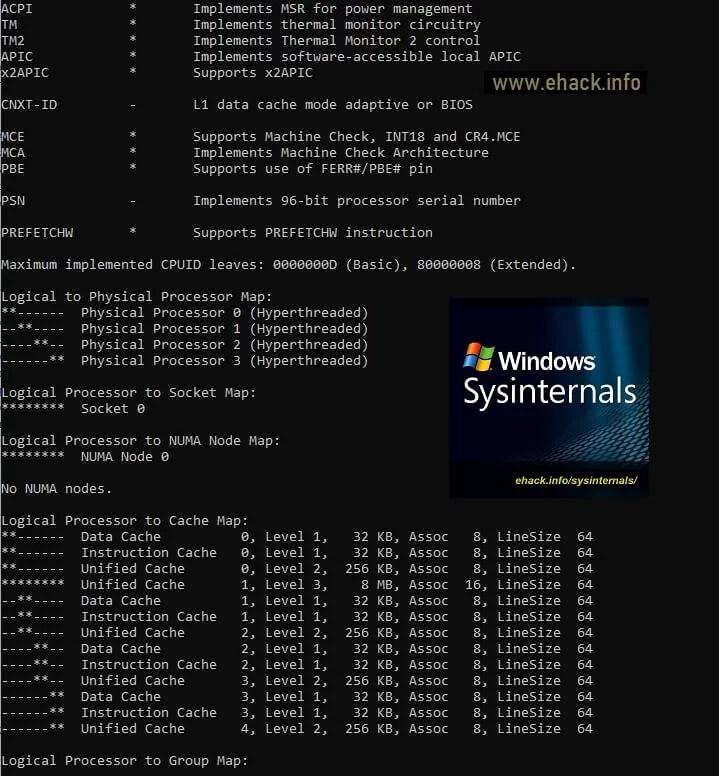Coreinfo - Dump de la información física y lógica del procesador