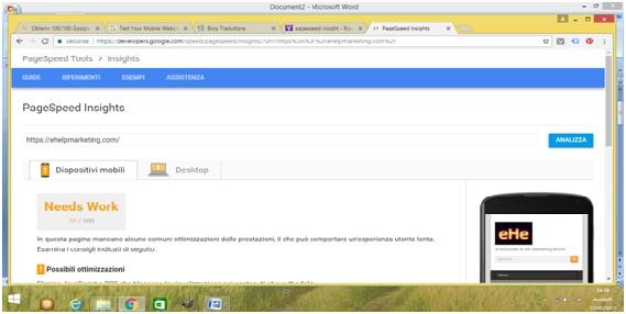 google page speed esempio