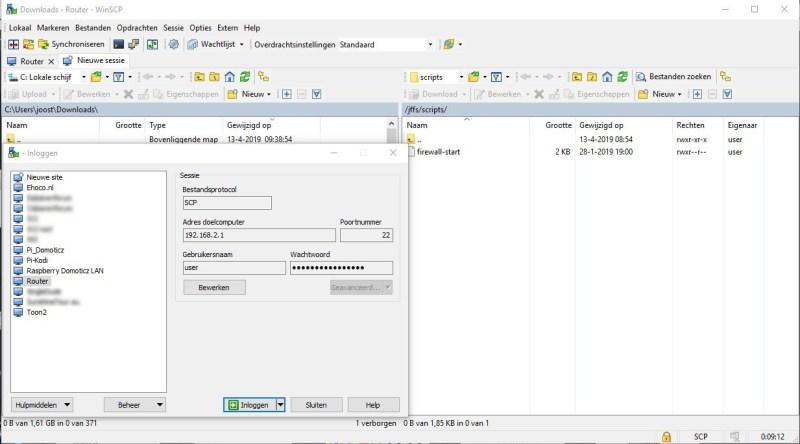 inloggen op router met WINSCP