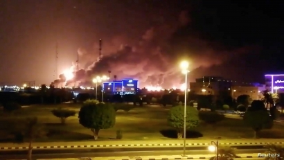 Smoke is seen following a fire at an Aramco factory in Abqaiq, Saudi Arabia, September 14, 2019 in this picture obtained from social media. VIDEOS OBTAINED BY REUTERS/via REUTERS ATTENTION EDITORS - THIS IMAGE HAS BEEN SUPPLIED BY A THIRD PARTY. MANDATORY CREDIT. NO RESALES. NO ARCHIVES.