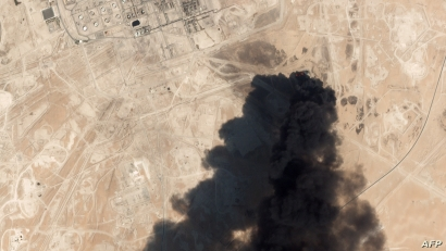 This satellite overview handout image obtained Sept. 16, 2019, courtesy of Planet Labs Inc. shows damage to an oil infrastructure from weekend drone attacks at Abqaig on Sept. 14, 2019, in Saudi Arabia.