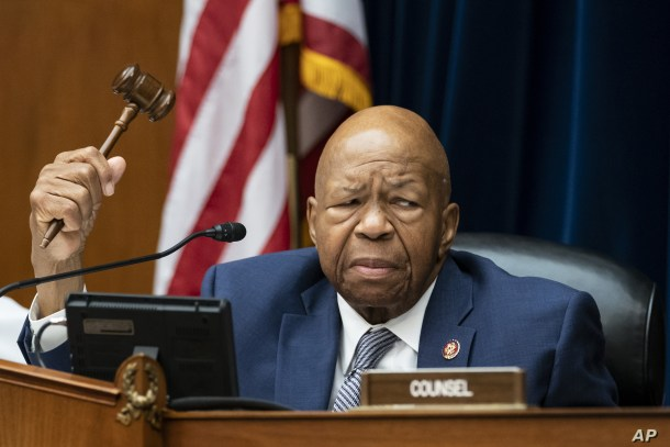 House Oversight and Reform Committee Chairman Elijah E. Cummings, D-Md., considers whether to hold Attorney General William Barr and Commerce Sec. Wilbur Ross in contempt, on Capitol Hill in Washington, June 12, 2019.