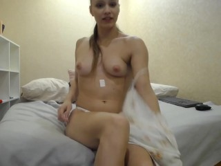 hyperactive flexible girl trying medication with lush and masturbating with legs behind head