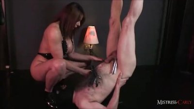 In need of sex MistressCarly helps her slave cum then makes him drink his spunk