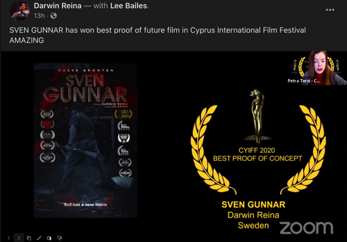 SVEN GUNNAR screenshot from the CYIFF award live stream via Zoom