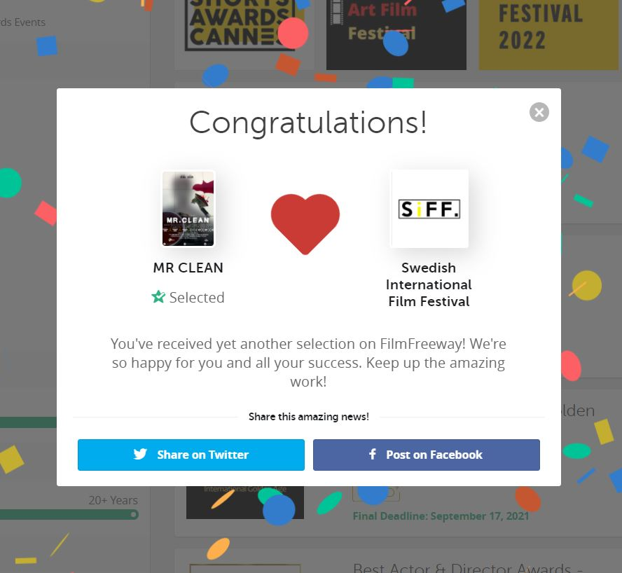 MR CLEAN official selection to SIFF - film freeway notification