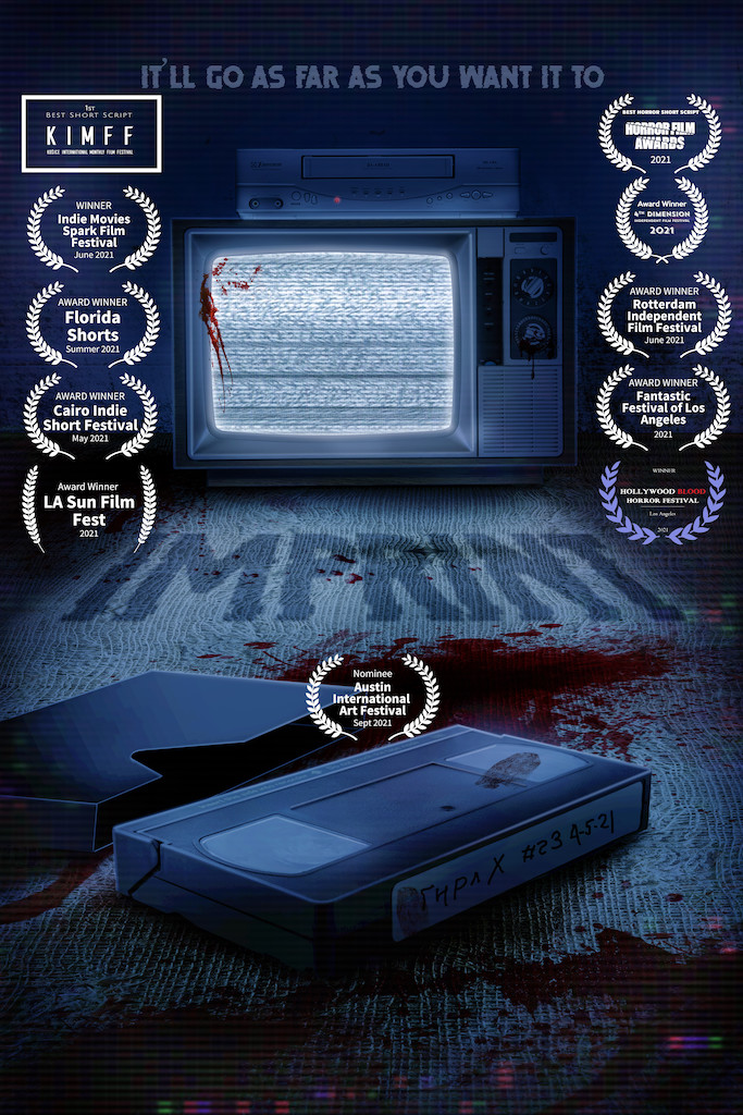 IMPRINT.poster - bloody video tape and TV playing static - with winning laurels