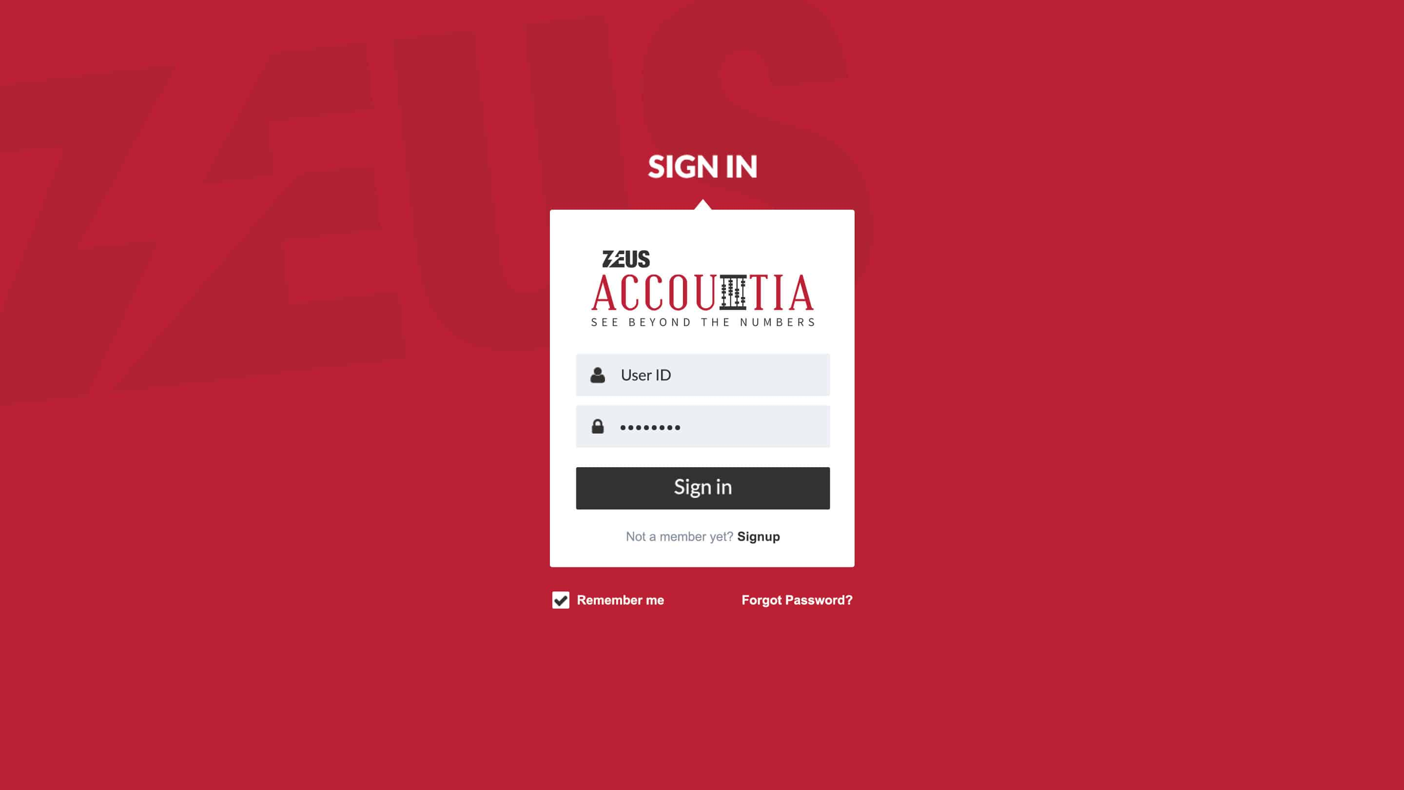 Zeus Accountia-Login Screen