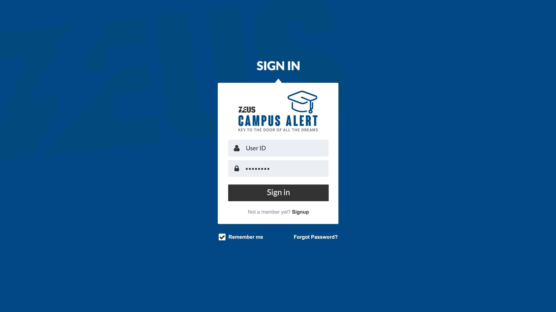 Zeus Campus Alert – Login
