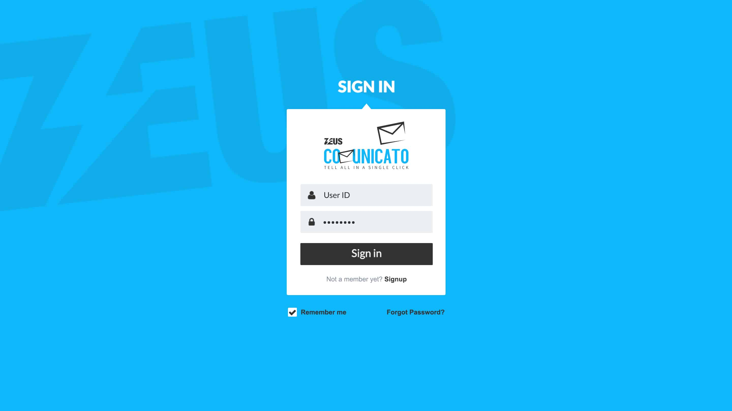 Zeus Communicato – Login