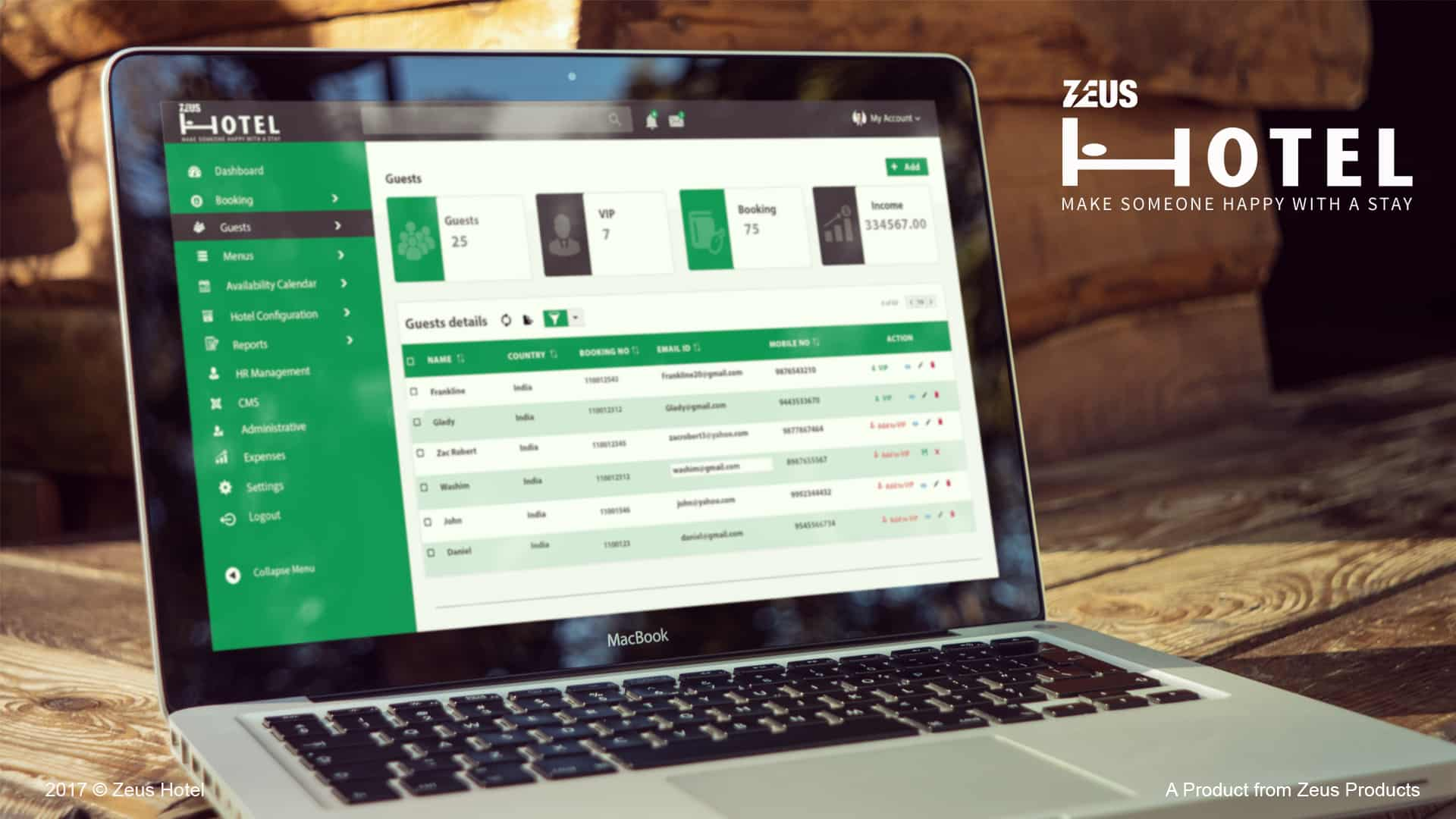 Zeus Hotel CRM Mock up listing
