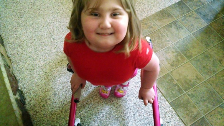 She'll stand and walk as much as she can, whether her therapist has given her blessing or not.