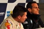 Felix Baumgartner (links) und der ehemalige Motorradrennfahrer Alex Hofmann bei der Pressekonferenz am Nürburgring. (Foto: Reiner Züll)