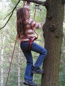 Auf die Bäume klettern können Kinder beim Baumhaus- und Kletterkursus im LVR-Freilichtmuseum Kommern. Foto: LVR-Freilichtmuseum Kommern