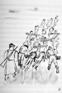 """Eine """"Russenkolonne"""" mit zwei zu Tode erschöpften Arbeitern kehrt am Abend zurück ins Lager Emges-siefen. Zeichnung: Hubert Vitt"""