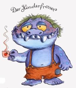 """Klaus Strenge liest im Kreishaus aus seinem Buch """"Der Kinderfresser kommt"""". Illustration: Franziska Harvey"""