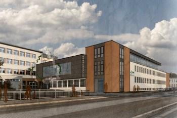 Ansicht von der Blumenthaler Straße in Richtung Oberhausen auf die neue Aula und Bürgerhalle sowie Stadtbibliothek. Simulation: Architekturbüro Holdenried