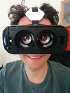 Samsung GearVR headset - with blue eyes inserted